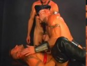 Hot manly rugged hunks in a hot orgy leather sex scene. Totally testosterone full gay action with lots of fucking and sucking of big hard dicks and...