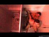 cock sucking dudes fuck in a public bathroom.