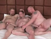 Watch as Pooch and Bubba ride Clint bareback and make him their personal fuckhole. From Poochs thick cock and bubble butt to Bubbas no mercy face...