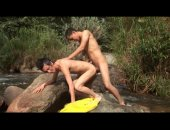 Nicolas and Alex are enjoying the great outdoors when they get horny. So they find a secluded spot, in the middle of the stream and start doing what horny Latino twinks do. They suck cock but thats not all, they want more so they continue it bareback fuc