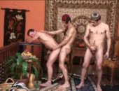 Here is another of our fantasy features as you see Brazilian Studz transform into Arabian Knights!! Even while Imad Aldin is getting blown by Manuel Lozano hes thinking back to a three-way with Bayyah Azhar and Wajid Talib. Seeing what Bayyah has between his legs makes it no surprise. Bayyahs cock is made for fucking. Watching him go after Imads hole is enough to get any man off. Just when you think there can be nothing hotter than watching Imads throat and ass swallow Bayyahs rod, Wajid fills I
