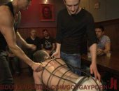A caged sex slave is rolled into a party to be used as a fuck toy. He is turned into a total cock slut as he is simultaneously fucked in the ass and face.