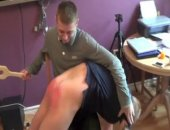 Three straight mates play this hazing forfeit game. Straight boys spanking each other!