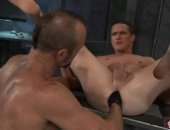 Sexy prisoner Chad Brock fists his inmate Jackson Lawless