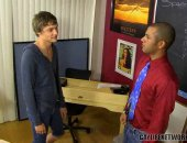 As a teachers aid, Carter Stone has a set of keys to the school, which he uses to sneak in after hours with Blake Allen! The horny student gets on his knees to suck Carters fat uncut cock before he offers up his hole.