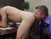 Any time is a good time for a blowjob, even while in the middle of a boardroom meeting.  Cock hungry Spencer Fox crawls under the table and helps himself to a mouthful of Colby Jansens boner.  When the meeting ends, the real action begins and Colby drills Spencers  insatiable hole right there in the conference room.