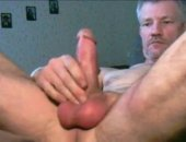 hot mature dude spanks out a load