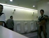 we whips it out in a full public washroom and gets off