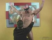 Hot Muscled Daddy worshipped by a younger gay guy.