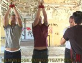 These hot Italian triplets experiment with bondage as they are tied up and flogged. Their cocks get rock hard as they are beaten off and made to come all over their own sexy ripped bodies.