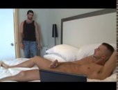gorgeous hunks get each other off while watching porn