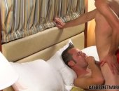 Alex Vincent and Nick Hilton are in the middle of a hot raunchy sex session. Alex is sucking hard on Nicks super hot twinky dick! Its not long before Alex is fucking Nick hard and bareback.