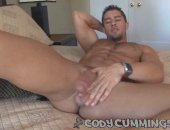 In this one-man session with the Italian Stallion himself, Cody Cummings, wild sex scenes are going on in other rooms all over the house. As Cody settles in with one of his favorite DVDs, the passionate sounds coming from all around arouse him, making his dick swell with intense arousal.