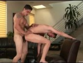 Brody Grant is in the living room getting his white ass fucked by Tony Falco