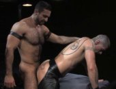 Super bears Adam Champ and Logan McCree in a scene of the gay movie Dominus.