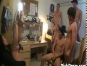 College can get boring, and one night the girls and their gay friend decided to get the entire room naked and not only that, to all jack eachother off. Watch these hot twinks play with their straight friends for the first time, straight dick in gay hands..