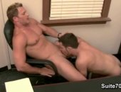Brenden Cage and Trent Locke switch off sucking on each others big white cocks in the office.
