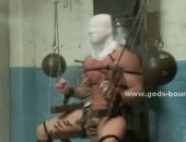 Muscular and masked gay males get tied up and suspended while forced to kiss each other without seeing and get their big cocks jerked off and teased