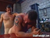 Two handsome gay mechanics getting naughty and dirty in a greasy garage!