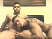 In a collegeroom, two hot manly hung fratboys sucking in front of the webcam. Free gay tube video.