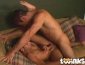 Slim twink Johnny Law spreads legs and gets tight butthole hammered by a monster phallus