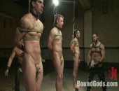 Three hot boys are auctioned off to the highest bidder during a live show.