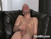 Nasty guy shows off his white massive cock and gives himself a handjob