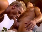 A blonde stud sucks off his partner and then gets butt fucked doggystyle.