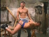 Two studs spank in the playroom and have hardcore anal sex.