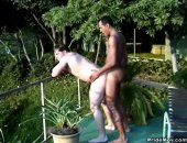 A well hung black stud rams a tight white ass outdoors doggystyle.