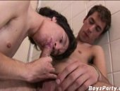 This hunk puts whip cream on on his friend hard dick and sucks it off.