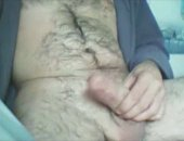 hairy daddy jerking off his COck.