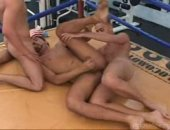These jocks get nude in the ring and ride cock.
