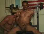 These two men hit up the gym for a workout. The workout consists of stripping and sucking cock.