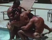 Three horny gays having sexy fun with their cocks in a pool