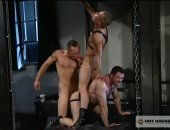 2 guys tagteam a mouth and a butt with their enormous dicks