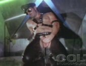 Horny leatherman strokes his massive tool to reach orgasm