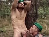 Two army studs enjoying some outdoor blowjob and anal sex