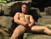 Young man alone in the wood start jerking off his man meat