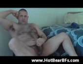 hairy bear jerking off his cock.