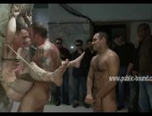 Cute gay twink immobilized with ropes in dirty cell humiliated and tormented in nasty group sex with dirty cocks in bound inpublic video scene