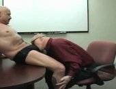 Sucking down fat dick in a conference room