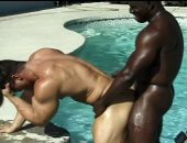 Jumps into the pool with two huge gay black hunks