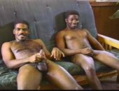 Jerking off next to each other on the chair