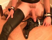 Jerking a big cock in womens boots
