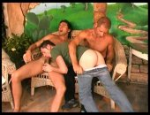 Threesome of ripped euro hunks sucking and fucking