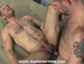 Hard sex for two big hunks pounding into one another.
