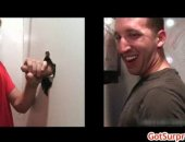 Being blown by a guy through gloryhole but hes completely tricked