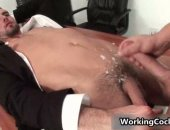 Hairy boss gets cummed on by his employee.