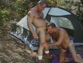 Hard body old muscled guys enjoying the outdoors with their dicks in each other.